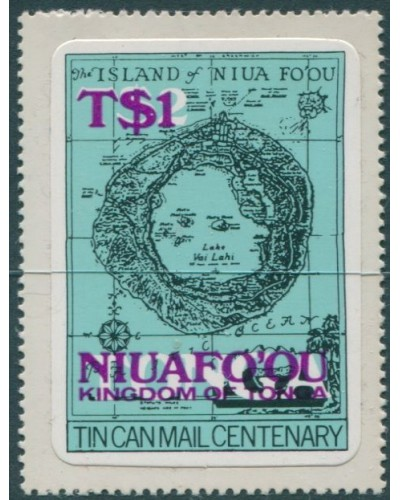 Niuafo'ou 1983 SG15a $1 on $2 Map deep mauve ovpt MNH
