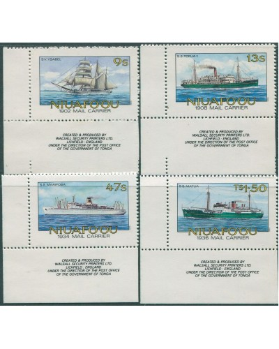 Niuafo'ou 1985 SG56B-59B Mail Ships perforated with sheet numbered corner set MNH