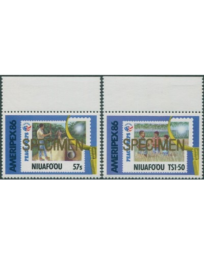 Niuafo'ou 1986 SG82-83 Ameripex Stamp Exhibition SPECIMEN ovpt set MNH