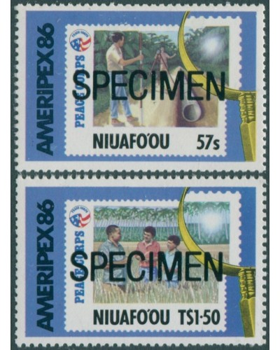 Niuafo'ou 1986 SG82-83 Ameripex Stamp Exhibition SPECIMEN in black set MNH
