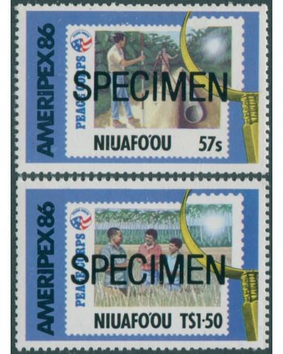Niuafo'ou 1986 SG82-83 Ameripex Stamp Exhibition SPECIMEN set MNH