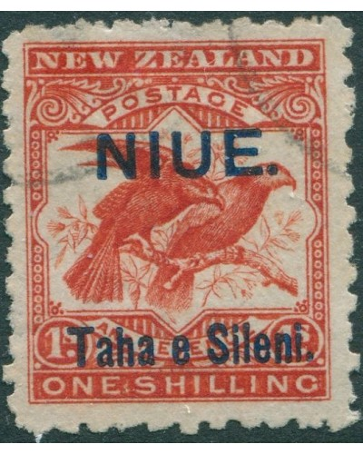 Niue 1903 SG16a 1s orange-red Sacred Huia Birds FU