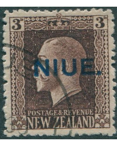 Niue 1917 SG27 3d chocolate KGV FU