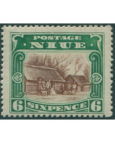 Niue 1920 SG42 6d red-brown and green Huts at Arorangi MLH