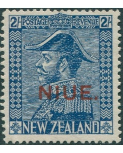 Niue 1927 SG48 2/- deep blue KGV with NIUE. ovpt MH