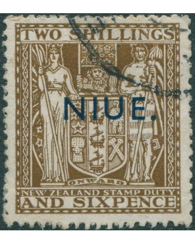 Niue 1945 SG83 2/6d deep brown Arms Fiscal NIUE. ovpt FU