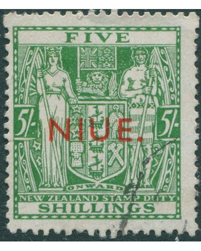 Niue 1945 SG84 5/- green Arms Fiscal NIUE. red ovpt FU