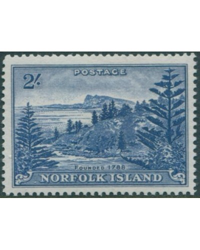 Norfolk Island 1947 SG12a 2/- deep blue Ball Bay white paper MNH