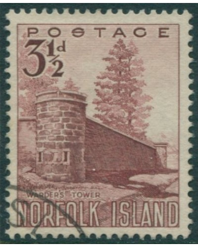 Norfolk Island 1953 SG13 3½d red Warder's Tower FU