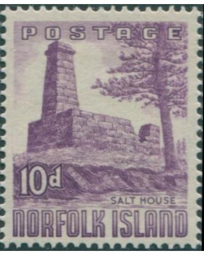 Norfolk Island 1953 SG17 10d violet Salt House MLH