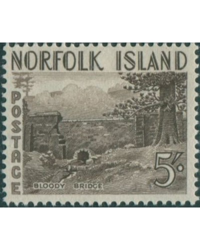 Norfolk Island 1953 SG18 5/- brown Bloody Bridge MLH