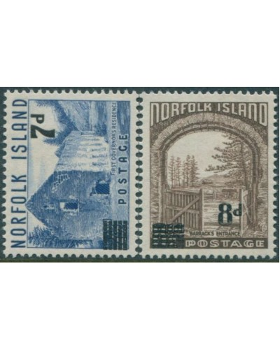 Norfolk Island 1958 SG21-22 Scenes surcharges set MLH