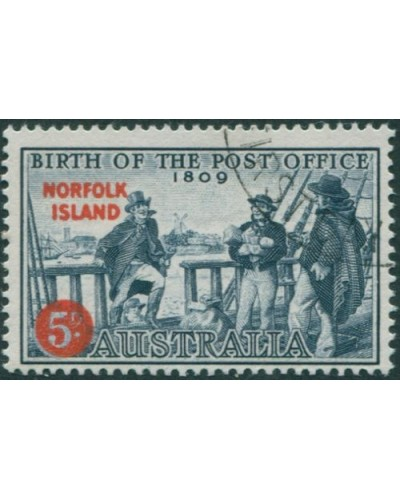 Norfolk Island 1959 SG23 5d on 4d Post Office FU