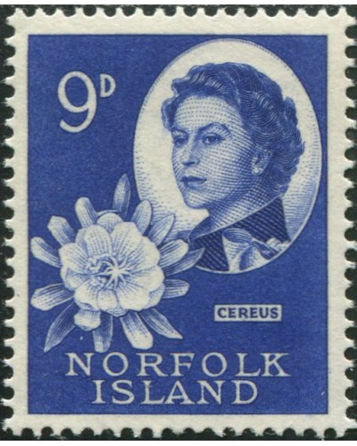 Norfolk Island 1960 SG29 9d QEII and Cereus flower MNH