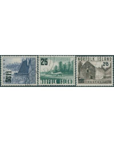 Norfolk Island 1960 SG37-39 Scenes surcharges set FU