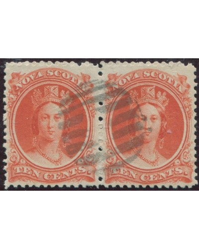 Nova Scotia 1860 SG28 10c vermilion QV pair FU