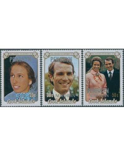 Cook Islands Penrhyn 1973 SG53-55 Royal Wedding set MLH