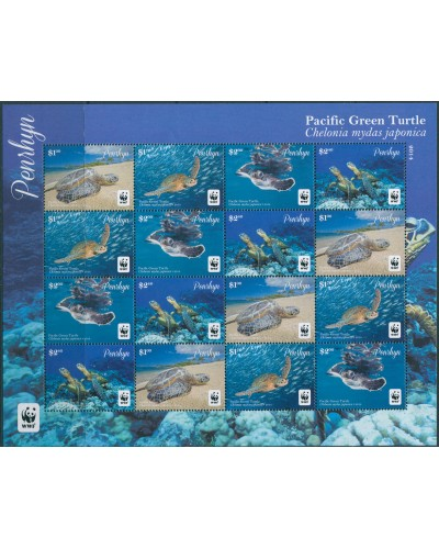 Cook Islands Penrhyn 2014 SG646S Green Turtle sheetlet MNH