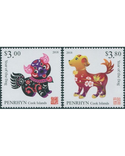Cook Islands Penrhyn 2017 SG682-683 Year of the Dog MNH