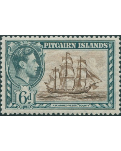 Pitcairn Islands 1940 SG6 6d HMS Bounty MLH