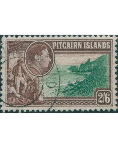 Pitcairn Islands 1940 SG8 2/6d Christian crew and coast FU