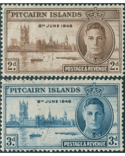 Pitcairn Islands 1946 SG9-10 Parliament House London set FU