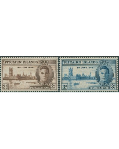 Pitcairn Islands 1946 SG9-10 Parliament House London set MLH
