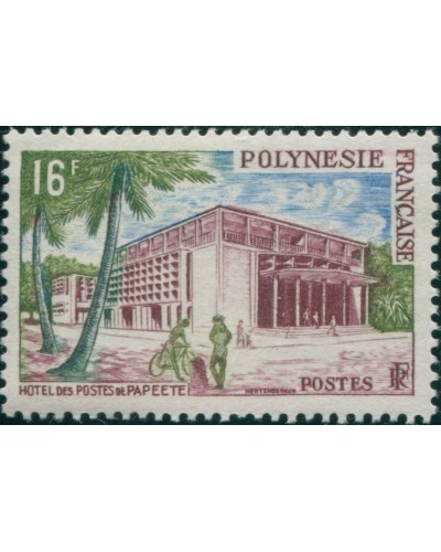 French Polynesia 1958 Sc#195,SG10 16f Post Office Papeete MLH