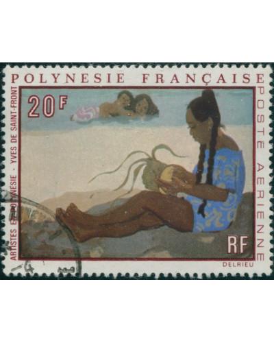 French Polynesia 1970 Sc#C63,SG122 20f Polynesian Woman painting FU