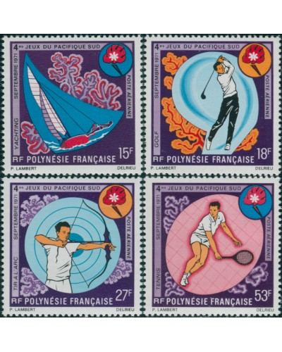 French Polynesia 1971 Sc#C74-C77,SG137-140 South Pacific Games set MLH
