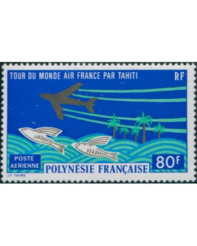 French Polynesia 1973 Sc#C96,SG167 80f Aeroplane and Flying Fish MNH