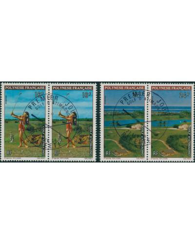 French Polynesia 1974 Sc#275-276,SG177-178 Golf Course pairs set FU