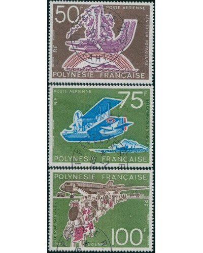 French Polynesia 1974 Sc#C112-114,SG194-196 Tahitian Aviation set FU