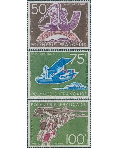 French Polynesia 1974 Sc#C112-114,SG194-196 Tahitian Aviation set MNH