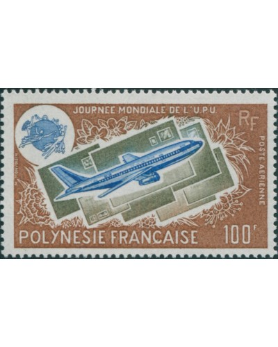 French Polynesia 1975 Sc#C121,SG204 100f UPU Boeing 737 Letters MLH