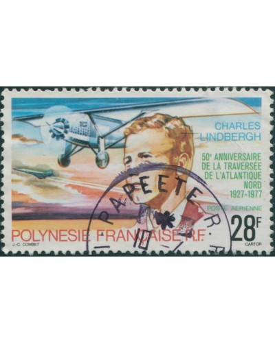 French Polynesia 1977 Sc#C149,SG257 28f Lindbergh Flight FU