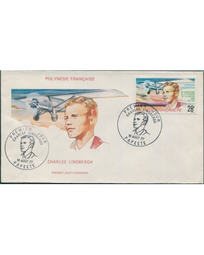 French Polynesia 1977 Sc#C149,SG257 28f Lindbergh Flight FDC