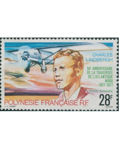 French Polynesia 1977 Sc#C149,SG257 28f Lindbergh Flight MLH