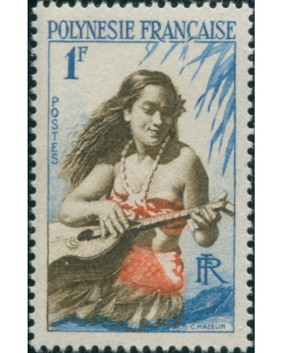 French Polynesia 1958 Sc#184,SG3 1f Girl playing Guitar MLH