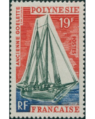French Polynesia 1966 Sc#221,SG60 19f Early Schooner MNH