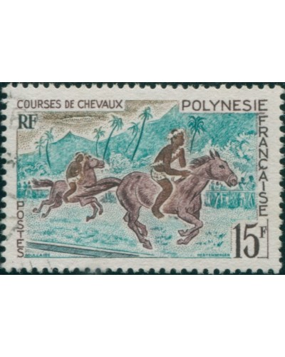 French Polynesia 1967 Sc#230,SG70 15f Horse Racing FU