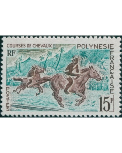 French Polynesia 1967 Sc#230,SG70 15f Horse Racing MNH