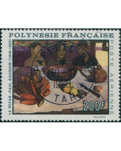 French Polynesia 1968 Sc#C48,SG87 200f The Meal painting (Gauguin) FU