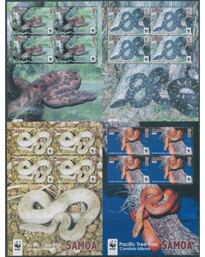 Samoa 2015 SG1325-1328 WWF Tree Boa coloured edges (4) MS MNH