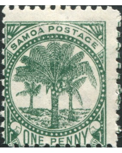 Samoa 1895 SG58b 1d deep green Palm Tree MH