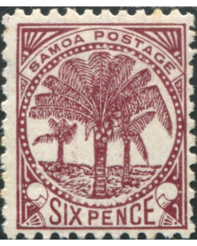 Samoa 1895 SG62a 6d brown-purple Palm Tree MH