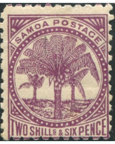 Samoa 1895 SG64b 2/6d deep purple Palm Tree MH