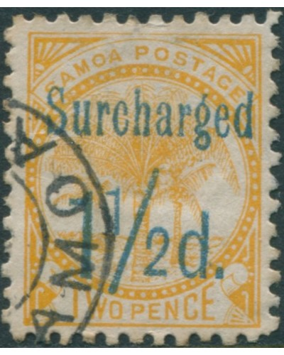 Samoa 1895 SG78 Surcharged 1½d. on 2d 0range-yellow Palm Tree FU
