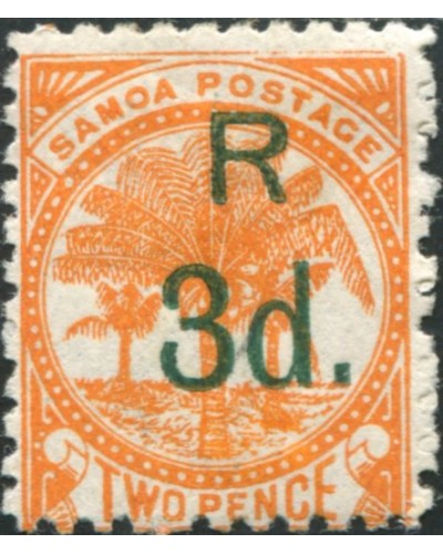 Samoa 1895 SG76 3d on 2d orange Palm Tree MH