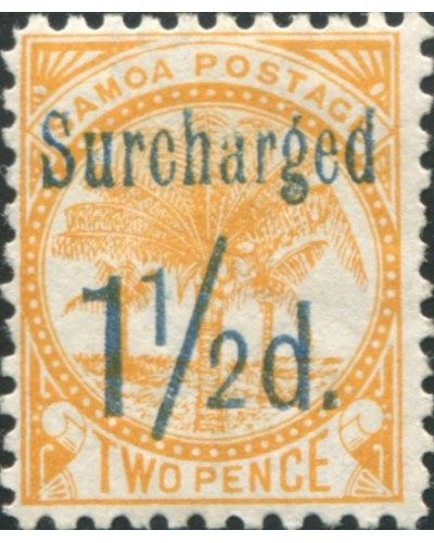 Samoa 1895 SG78 1½d on 2d orange-yellow Palm Tree MLH